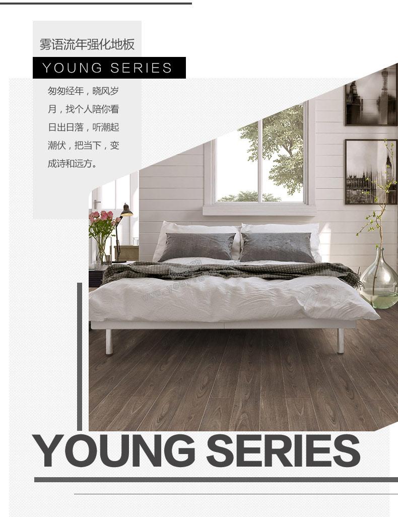 菲林格尔耐磨防潮强化木地板高密度纤维板强化复合地板Y488