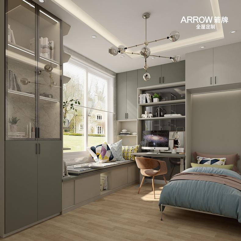 济南箭牌衣柜 现代双饰面米伦系列-现代风格-整体板浅灰色+雅灰色