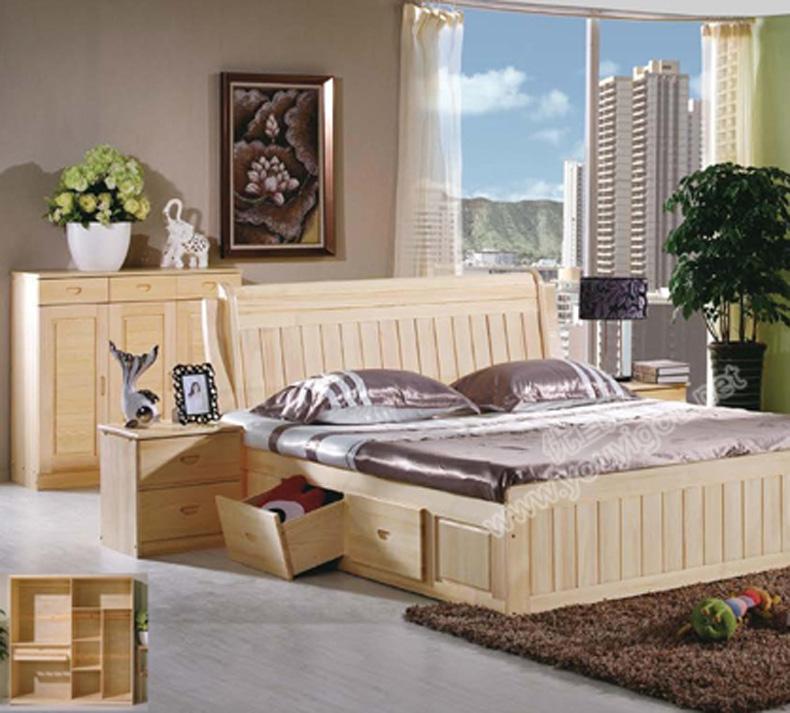 原生态松木家具 四门圆弧衣柜 床