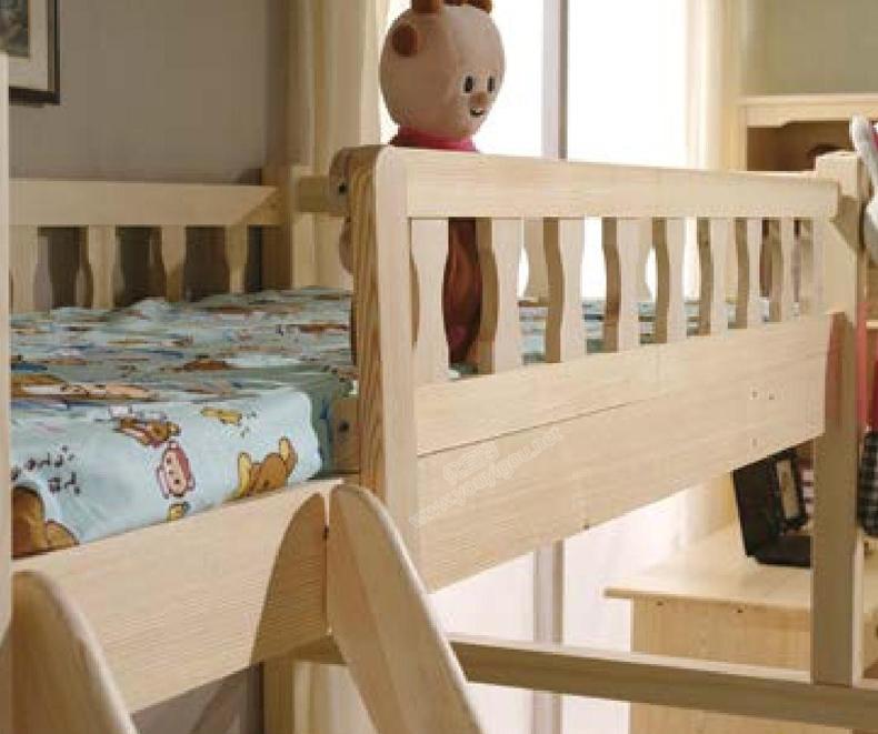 原生态松木家具 方腿圆弧三抽子母床