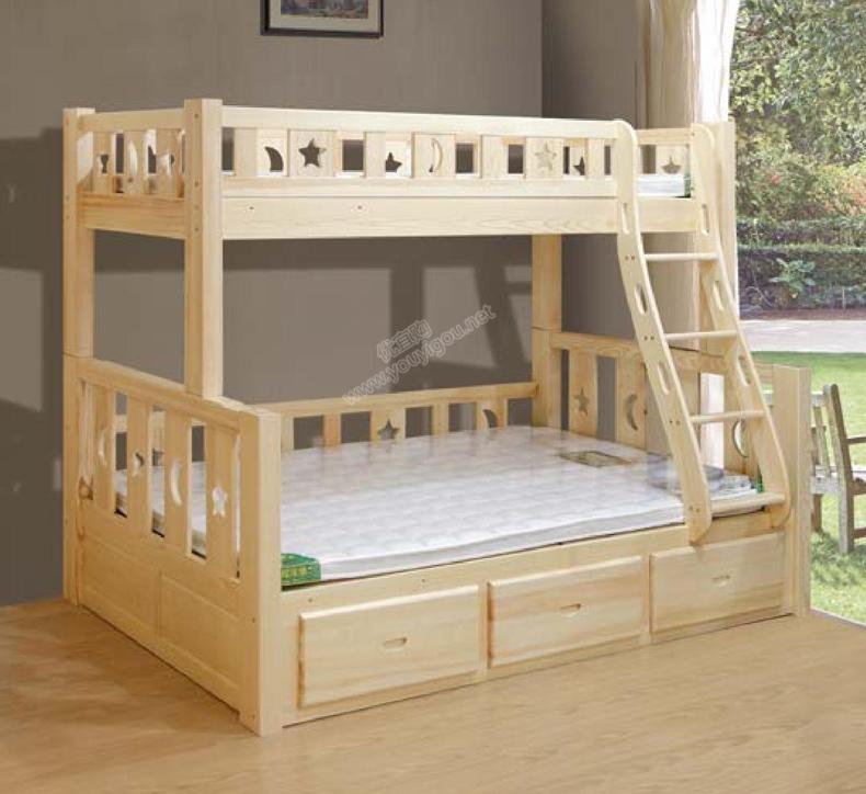 原生态松木家具 方腿星月子母床