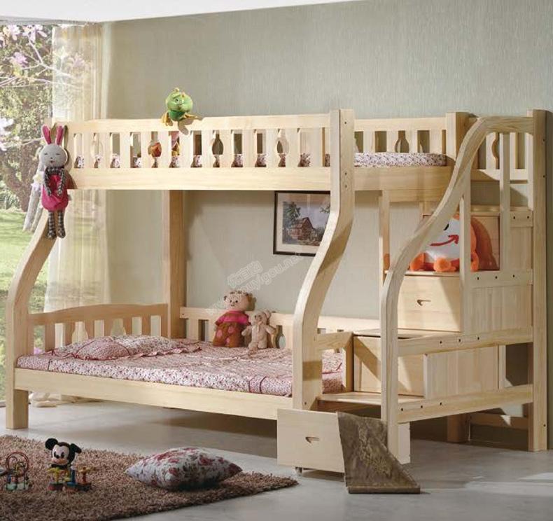 原生态松木家具 弯腿圆弧步梯子母床