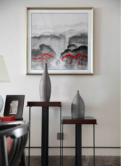 樂山裝修案例時代青江 新中式裝修效果圖 山水畫韻味深厚