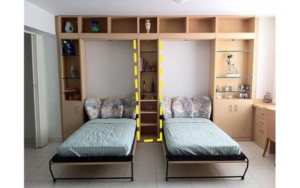 小户型儿童房怎么处理 柜里藏2床中间用置物柜隔开