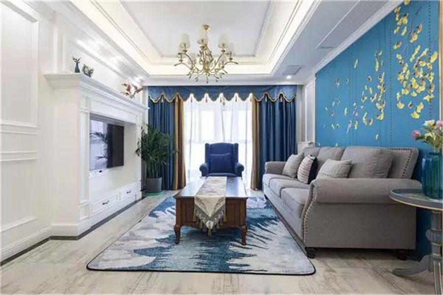 南充裝修案例藍色系簡美風裝修360°無死角,陽臺小花園格外迷人