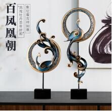 西宁华贺 创意凤凰摆件 美式家居软装工艺品摆设 客厅电视柜玄关柜欧式装饰品 蓝色小号