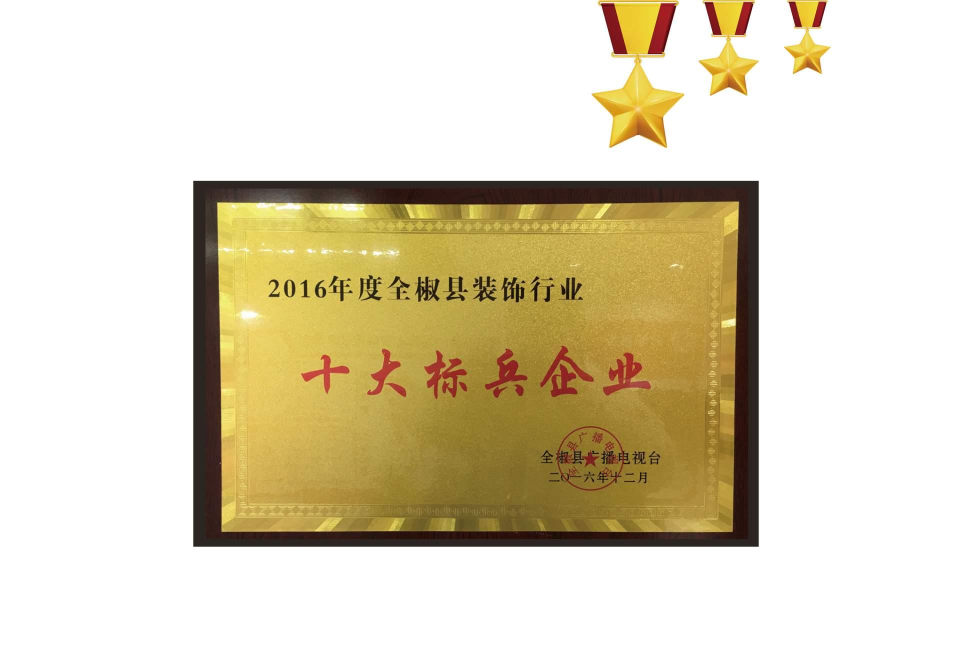 2016年全椒广播电视台授予公司十大标兵企业称号