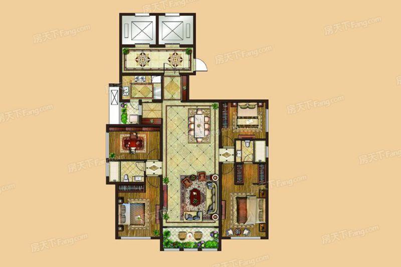 廈門裝修方案6#、7#樓172㎡戶型|4室2廳2衛1廚