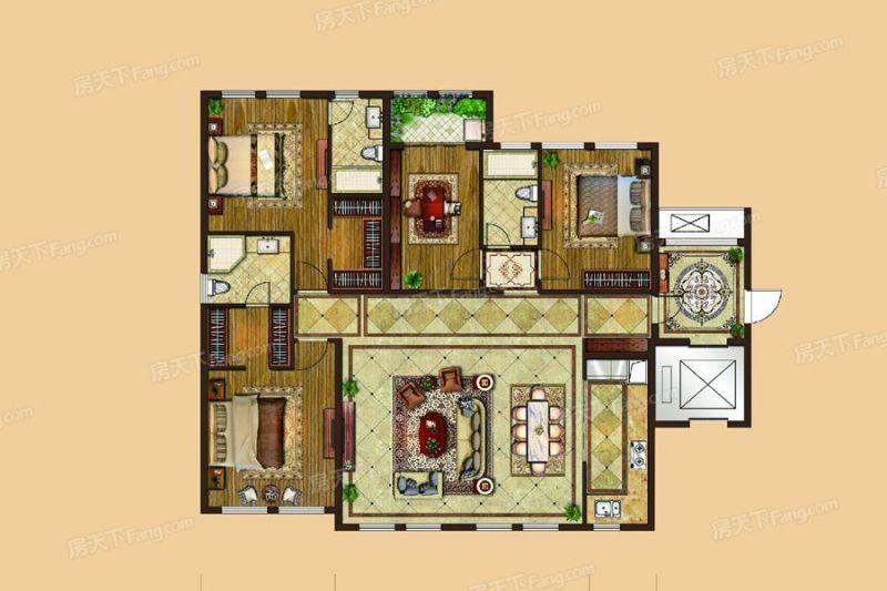 廈門裝修方案6#、7#樓196㎡戶型|4室2廳3衛1廚