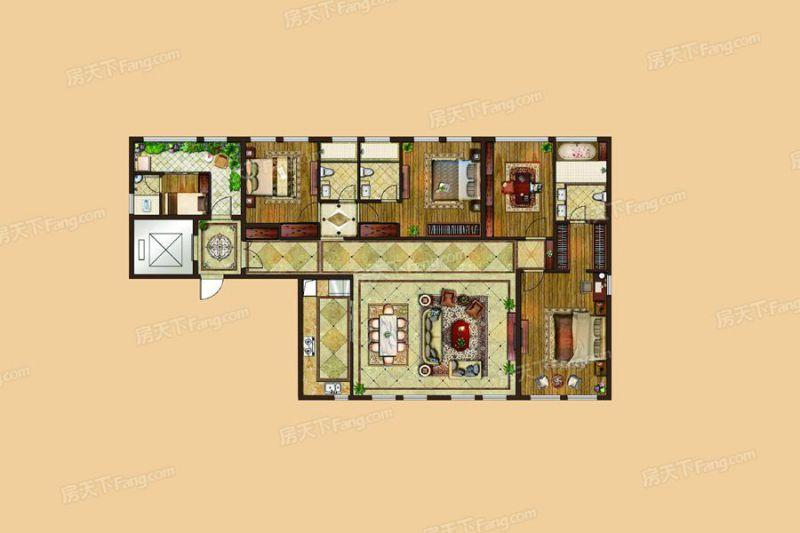 廈門裝修方案6#、7#樓224㎡戶型|5室2廳4衛1廚