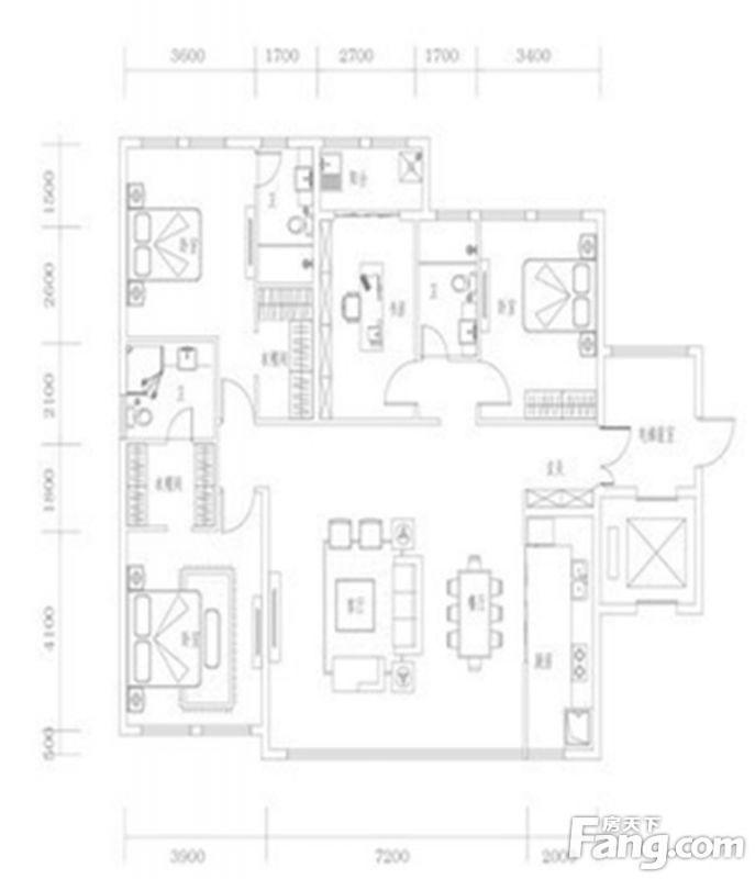 廈門裝修方案01單元|4室2廳3衛1廚