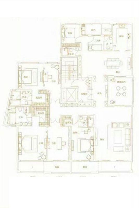 廈門裝修方案3#樓363㎡戶型|7室2廳5衛1廚