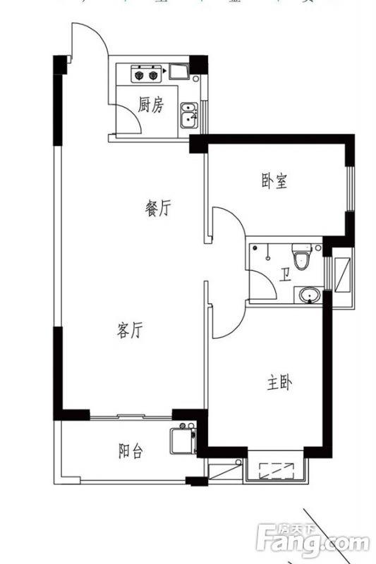 廈門裝修方案13#0203戶型 2室2廳1衛1廚