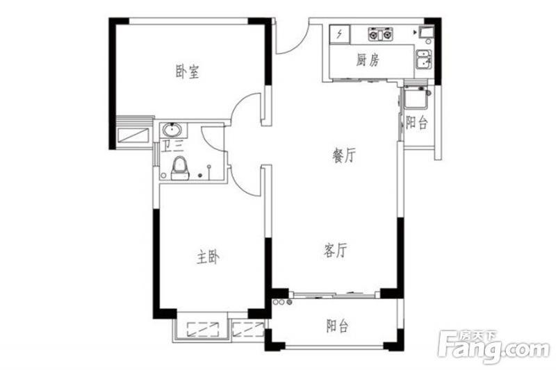 廈門裝修方案15#0203戶型 2室2廳1衛1廚