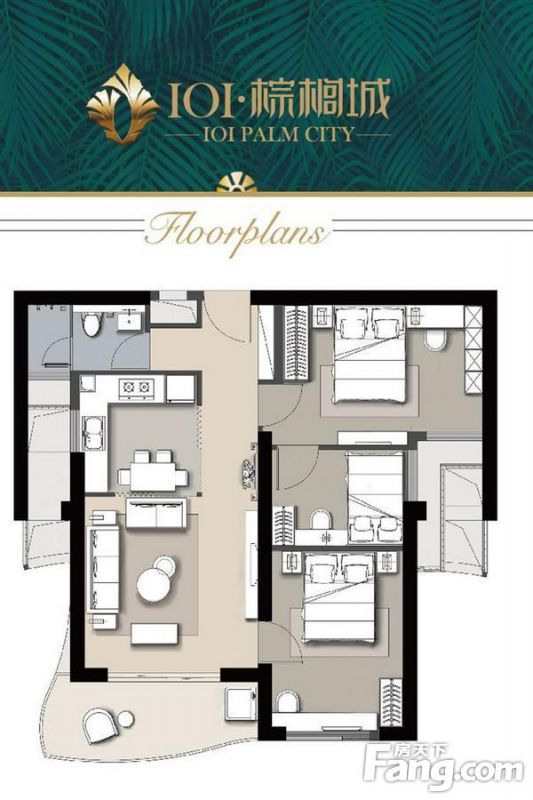 廈門裝修方案A戶型|3室2廳1衛1廚