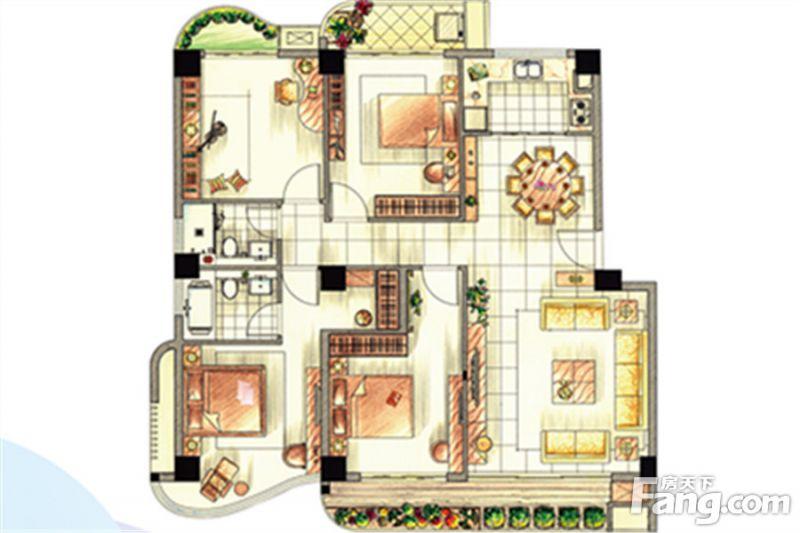 廈門裝修方案E戶型|4室2廳2衛1廚