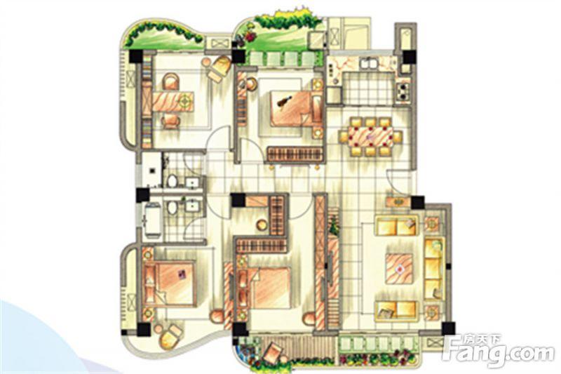 廈門裝修方案D戶型|4室2廳2衛1廚
