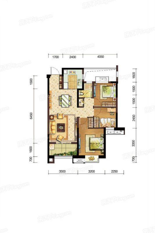 廈門裝修方案C戶型|3室2廳1衛1廚