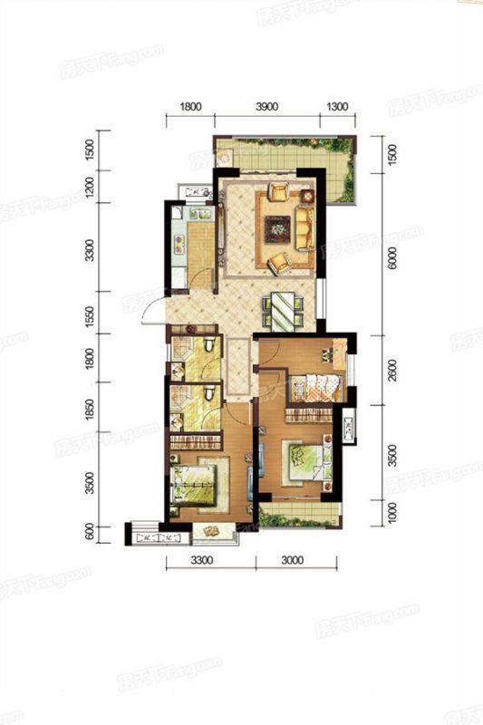廈門裝修方案A戶型|3室2廳2衛1廚