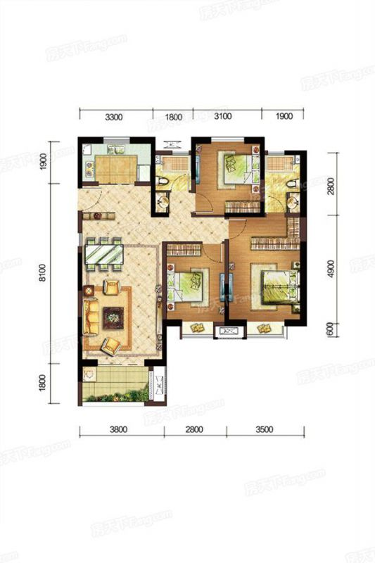 廈門裝修方案F戶型|3室2廳2衛1廚