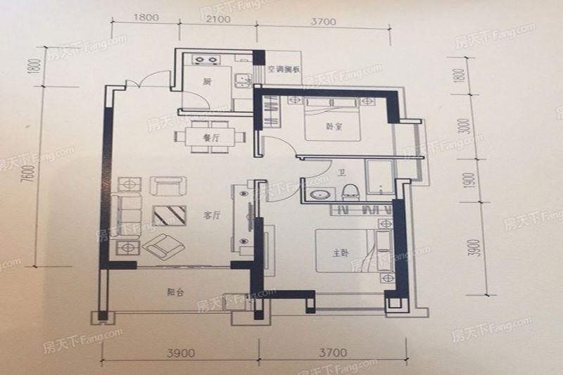 廈門裝修方案B2戶型91㎡|2室2廳1衛1廚