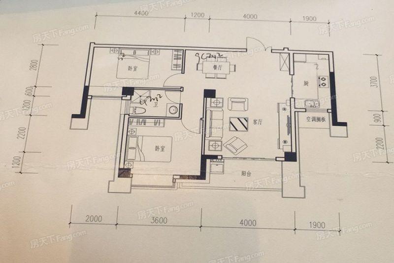 廈門裝修方案B1戶型96㎡|2室2廳1衛1廚