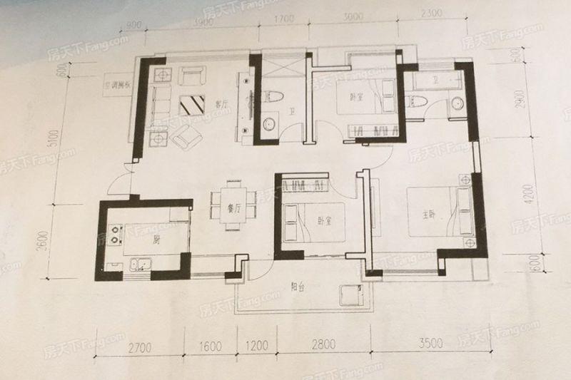 廈門裝修方案C1戶型115㎡|3室2廳2衛1廚