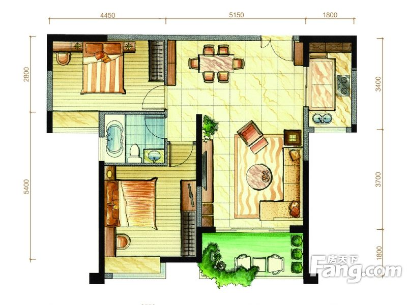 廈門裝修方案7#07戶型|2室2廳1衛1廚