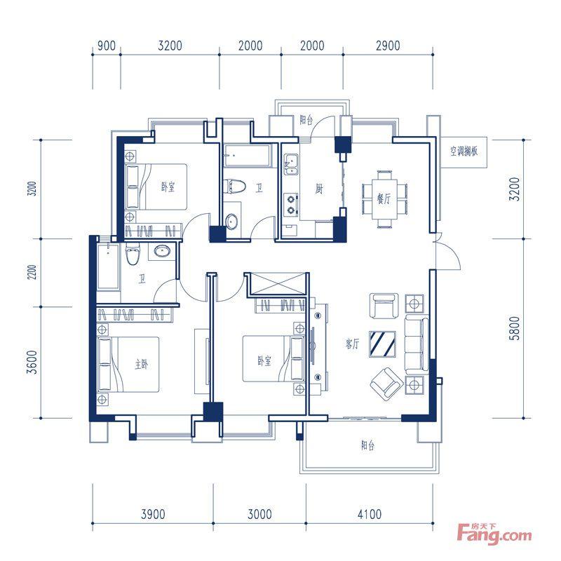 廈門裝修方案C2′戶型|3室2廳2衛1廚