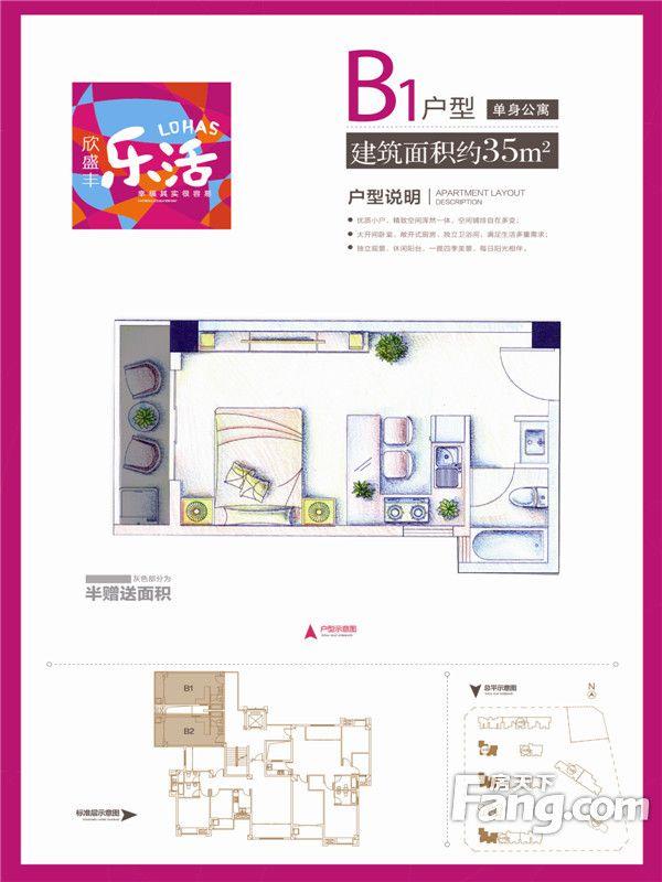 廈門裝修方案B1戶型單身公寓約35㎡|1室1廳1衛1廚