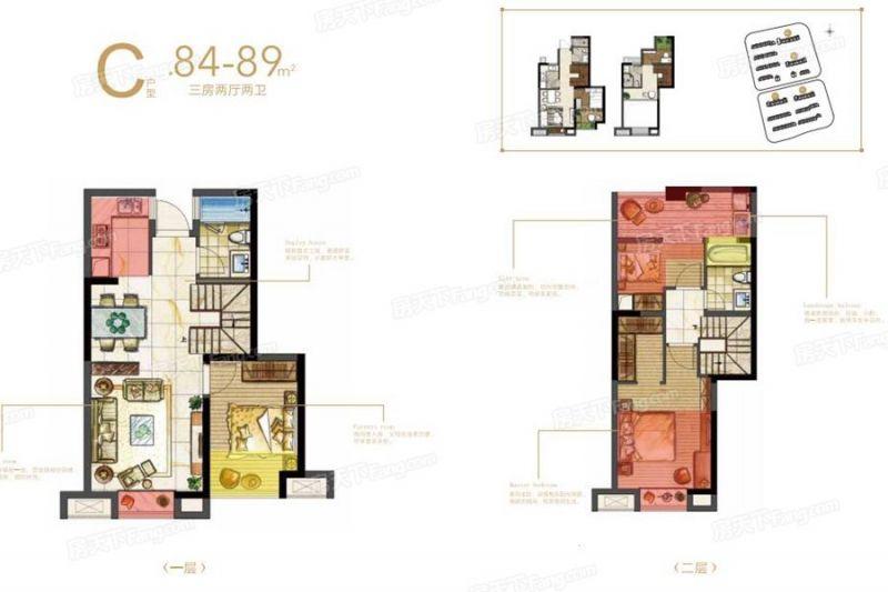 廈門裝修方案C戶型(復式)|3室2廳2衛1廚