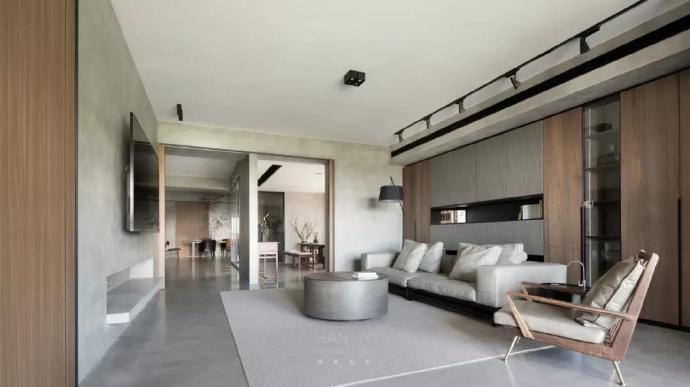 300平现代简约大平层,大面积水泥质感演绎现代美学空间