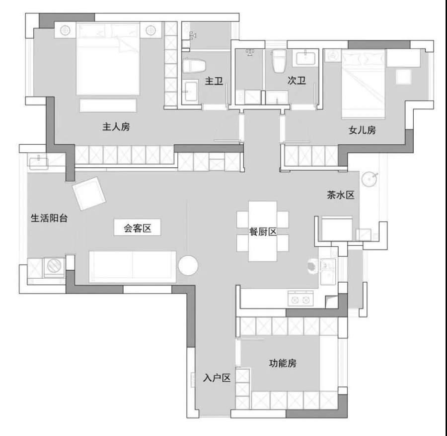 尚層空間-新湖綠城135m2海上明月簡約風賞析