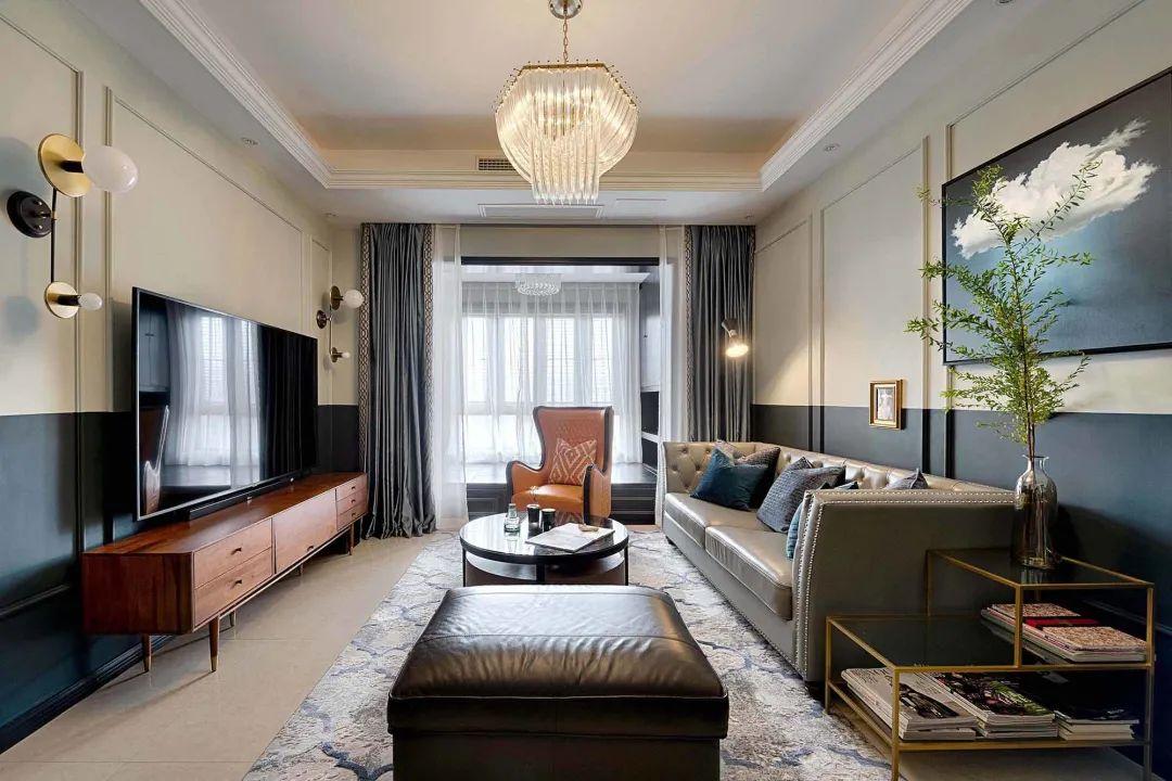 尚層空間85㎡美式輕奢,獨特風格配色,碰撞出華麗優雅的高級