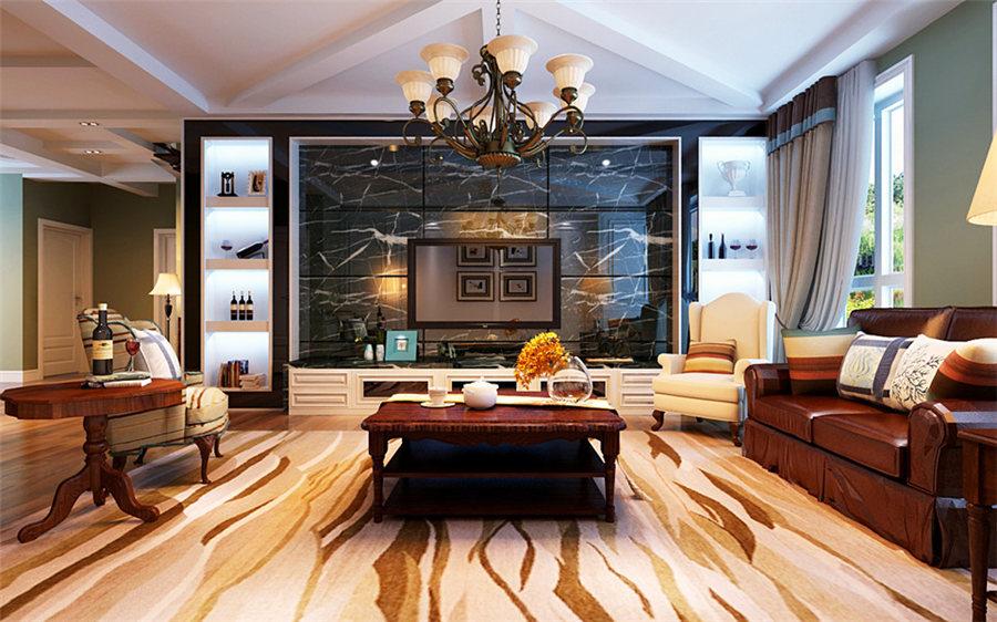 南京装修案例220㎡美式风格别墅装修效果图
