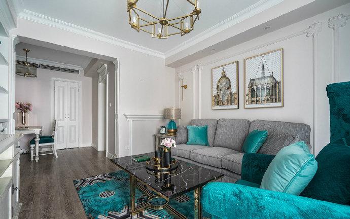 西安装修案例120平轻奢美式三居室 出跳的孔雀蓝。 