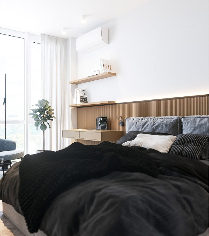 现代极简小公寓,天然木材饰面的温馨搭配