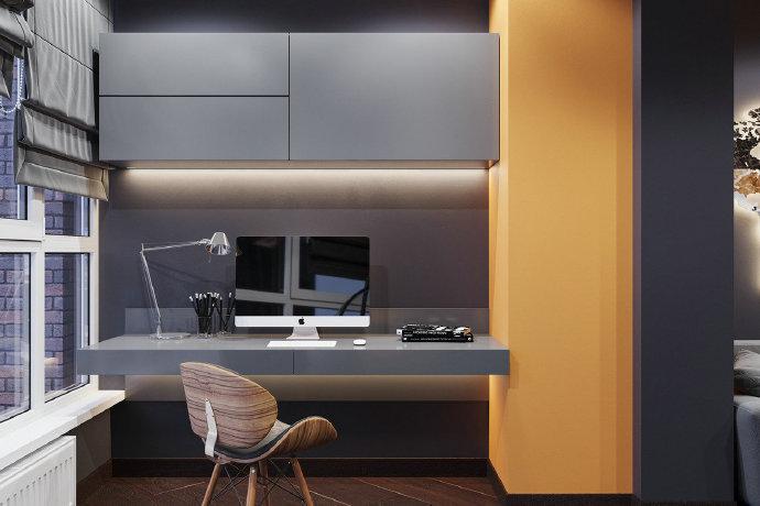 西安装修案例单身公寓,帅气的色调。