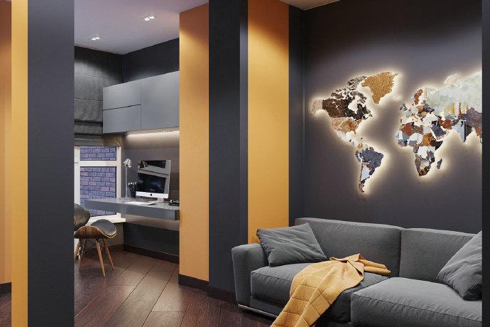 单身公寓,帅气的色调。