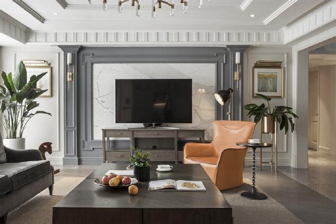 西安装修案例 美式风格家居装修设计,电视墙的颜色和造型都很漂亮! 