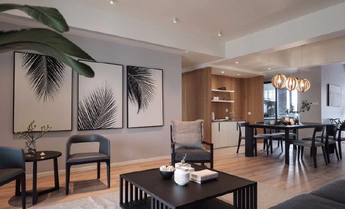 西安装修案例180㎡简约混搭风四居室,利用中间区域加了衣帽间 