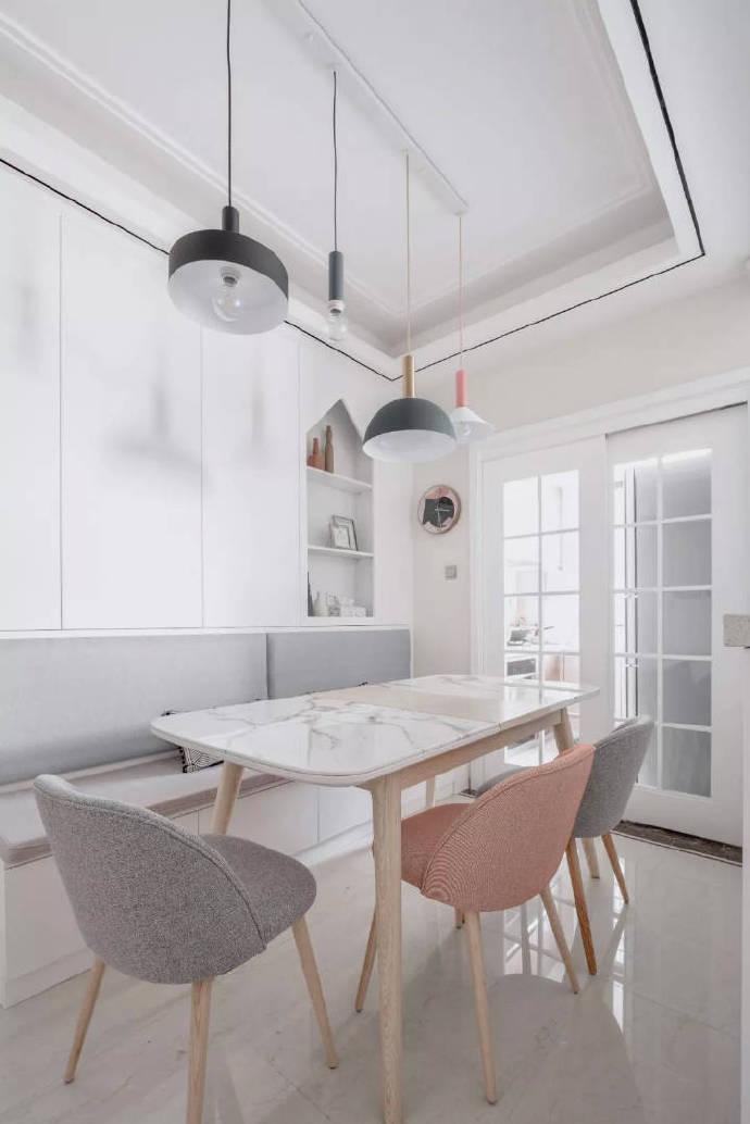 三室两厅白色系北欧风格装修效果图