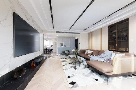 西安装修案例95平米现代轻奢