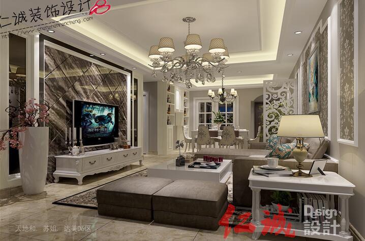 深圳装修案例深圳简欧风格客餐厅设计-达美D6客厅效果图