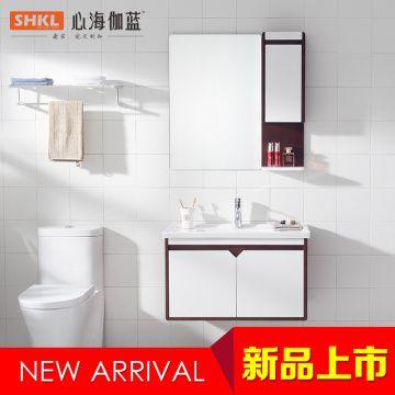南昌心海伽蓝浴室柜WX814156 哑白+红棕