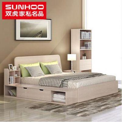渭南裝修材料雙虎家私 簡約現代板式雙人床