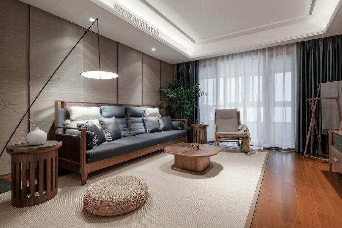陕西西安装修案例现代新中式,深木色营造暖调质感 