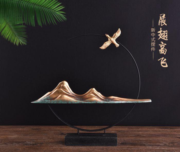 現代新中式裝飾禪意擺件 展翅高飛