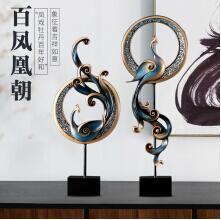 華賀 創意鳳凰擺件 美式家居軟裝工藝品擺設 客廳電視柜玄關柜歐式裝飾品 藍色小號