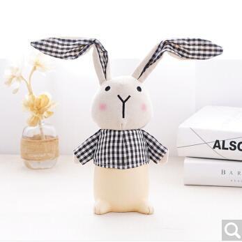 隨想曲 可愛長耳朵兔子存錢罐 卡通擺件 布藝工藝品 兒童儲蓄罐 節日創意禮品生日禮物 黑色